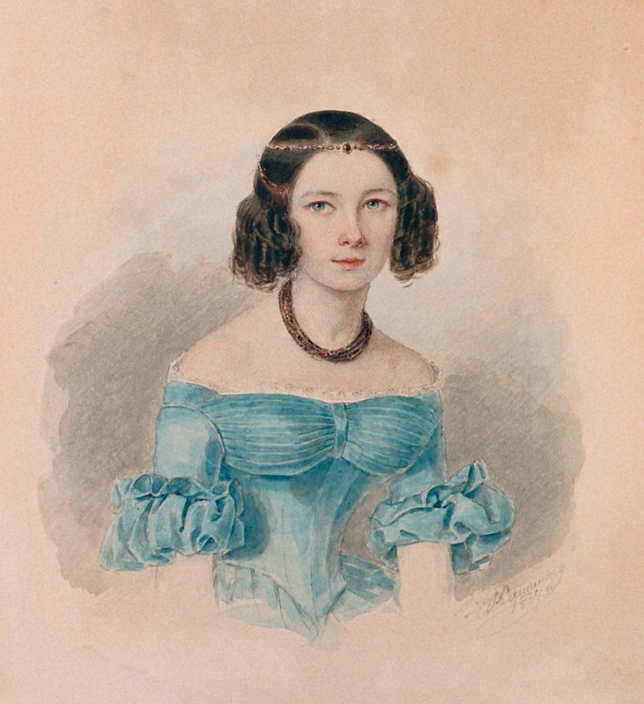 Наталья Федоровна Иванова. Акварель М. А. Кашенцева, 1834 год