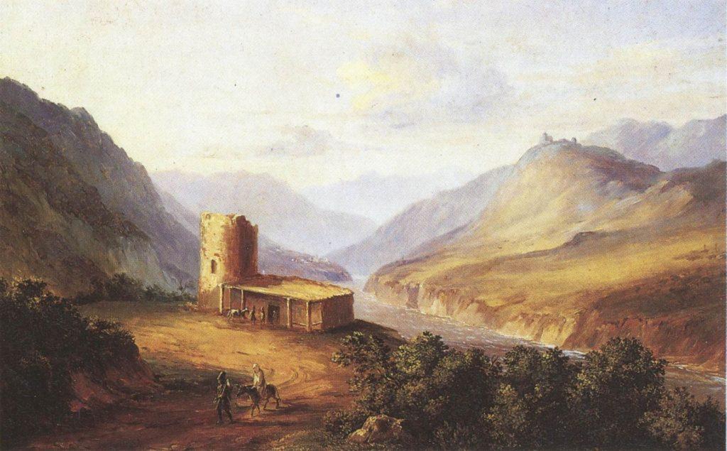 Военно-Грузинская дорога близ Мцхеты (Кавказский вид с саклей). Картина М. Ю. Лермонтова, 1837 г.