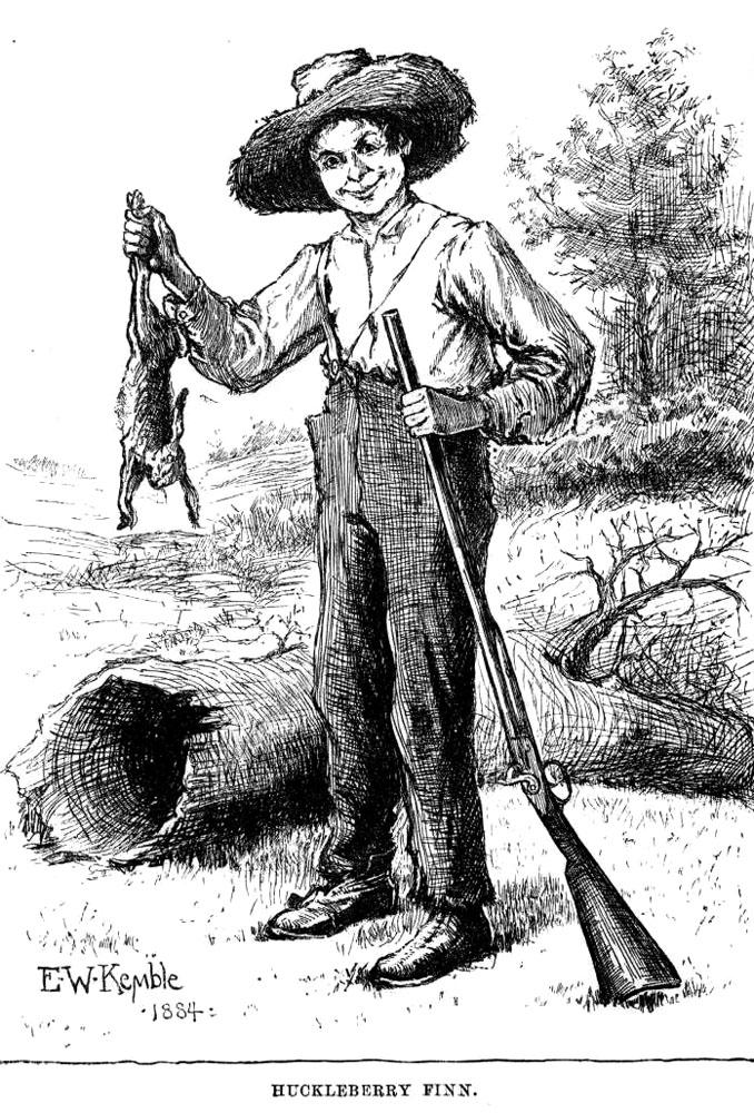 Рисунок Гекльберри Финна с кроликом и ружьем из оригинального издания книги 1884 года. Автор E. W. Kemble